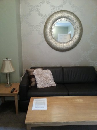 Dublin 1 Apartments : Living room with leather sofa bed