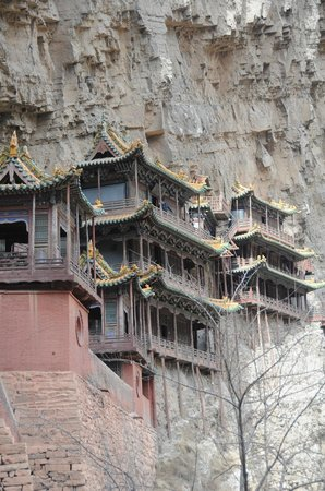Hengshan Hanging Temple (Xuankong si) : Close up view of the pavillion