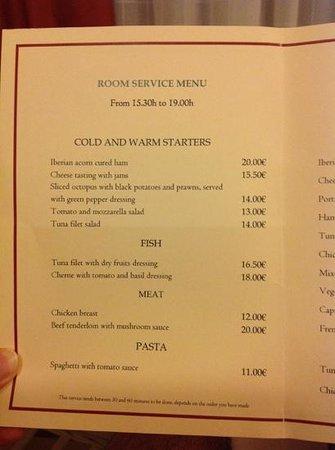 Hotel Suite Villa Maria: ROOM SERVICE MENU 1
