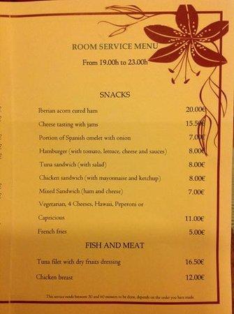 Hotel Suite Villa María: ROOM SERVICE MENU 2