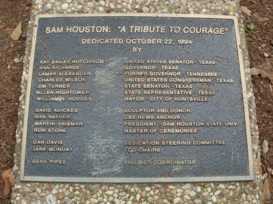 Sam Houston Statue: Dedication Marker