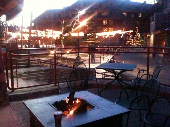 Grand Residences by Marriott, Tahoe - 1 to 3 bedrooms & Pent.: Sitting at coffee shop across frim ice rink looking towards hotel