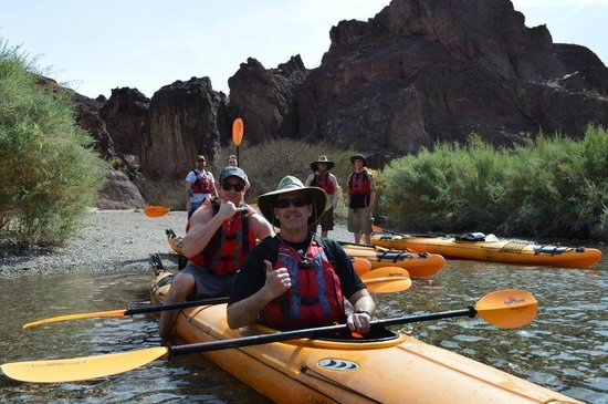 Evolution Expeditions: Kayak Hoover Dam Tour - nice little break at Arizona Hot Springs Beach