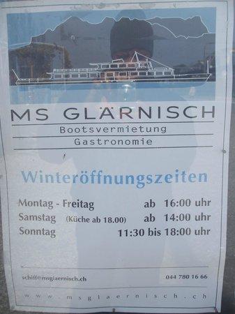 MS Glärnisch: Opening hours
