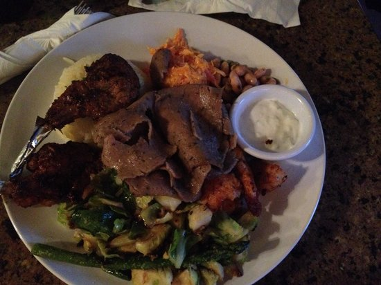 cafe zuppina: Mixed Grill Platter. Chicken kabob, gyro meat, lamb chops, lamb patties, artichoke hearts, carro