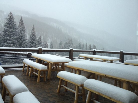 Beaver Creek Ski Area: Lodge deck at the base of Grouse & Larkspur lifts.