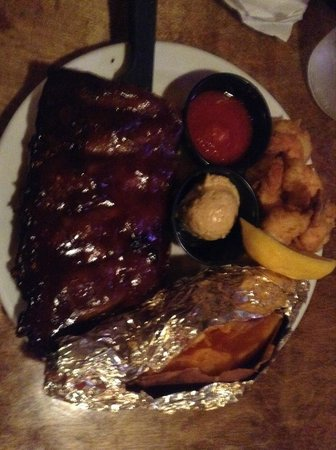 Cowboys BBQ & Steak Co: Half Rack of Ribs with Schrimp