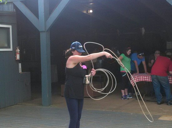 Mendes Ranch: Roping practice at the chow hall