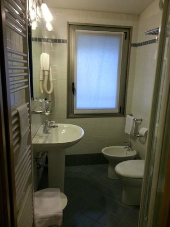 Cardano Hotel Malpensa: Small but very clean and functional bathroom.
