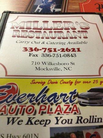 Miller's Restaurant: Menu
