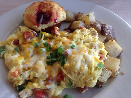 Hapa Grill: Skillet omelet with bell peppers, sausage, ham, cheese, and onions with seasoned potatoes and a
