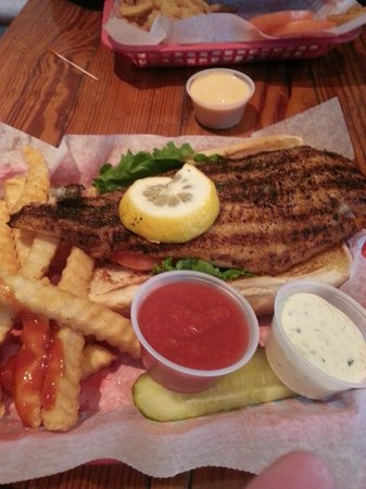 Bummz On The Beach: Grouper Sandwich with Fries