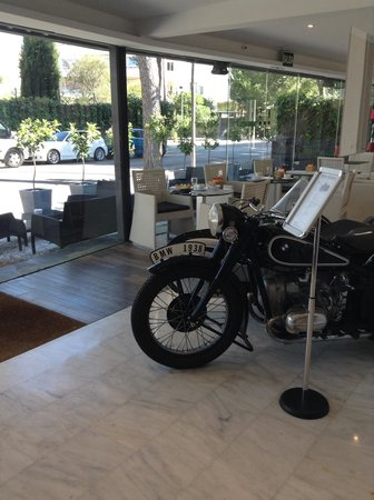 Hotel Sitges: A 1938 BMW Motorbike in the breakfast area