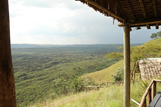 """Maili Saba Camp - Nakuru: View from our """"tent"""" of the crater"""
