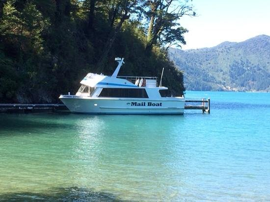 Pelorus Mail Boat: Mail Boat rests while we step ashore