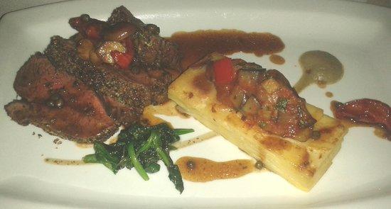 Blakes Restaurant: Rump of Lamb Cooked Pink Black Garlic Crust, Ratatouille, Aubergine Cream, Madeira Jus