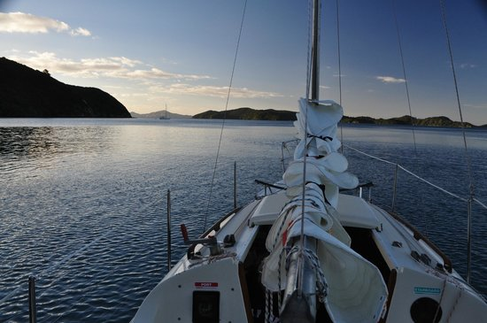 Great Escape Yacht Charters and Sailing School: Looking nw to Motuarohia Island before sunset