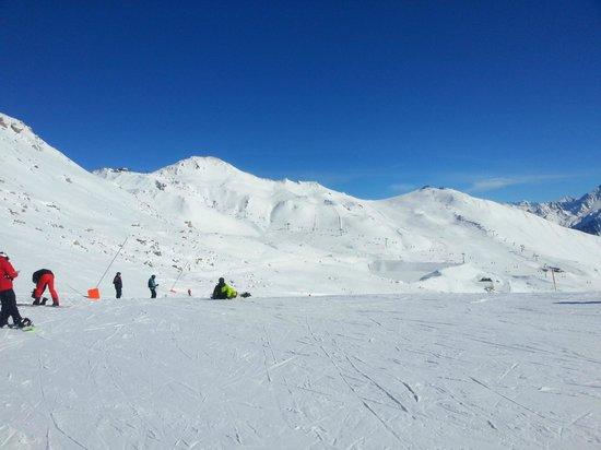Mayrhofner Bergbahnen: Rastkogel-Skigebiet, Blick Richtung Übergang nach Mayrhofen (Wanglspitz)