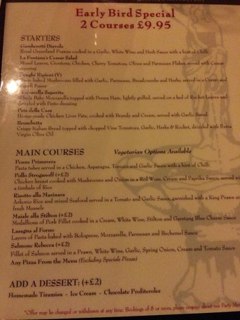 La Fontana Italian Restaurant : Early bird menu