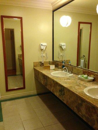 Unipark Hotel : Grand comptoir et lavabos doubles séparé de la salle de bain