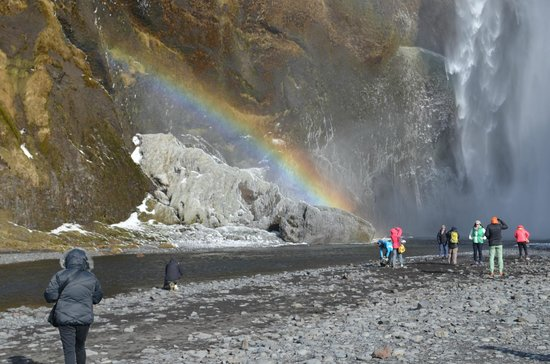 Iceland Travel: Rainbow at Skogafoss falls