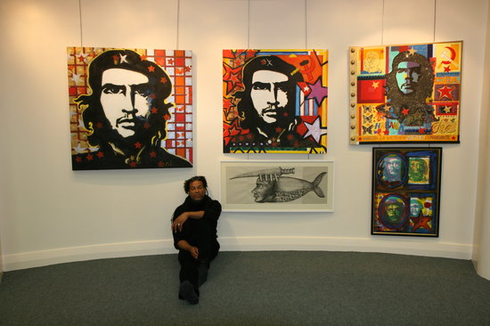Raul Speek Gallery: Raul at exhibition of political works
