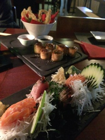 Sushi Fish: Prawn tempura, crab rolls, tuna and salmon sashimi