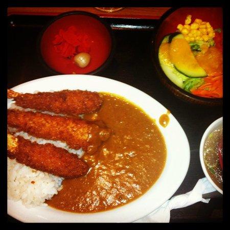 Kintaro Lamen : crevettes panées au curry, et riz, menu