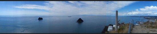 Sugar Loaf Islands and Paritutu Rock: Panoramic view upon Paritutu Rock.