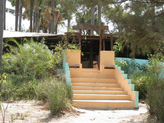 Nemasu Eco-lodge: Entrance to bar from the beach