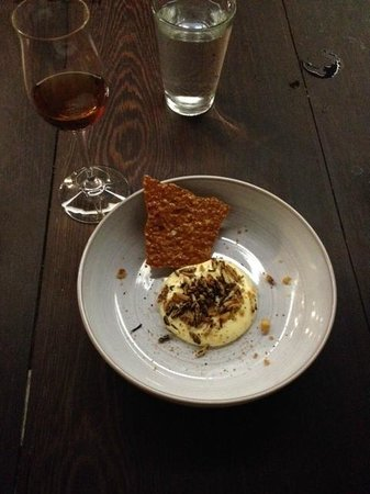 The Catbird Seat: Beer Cheese with Puffed Toasted Wild Rice and a Brittle (for scooping!)