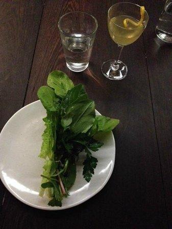 The Catbird Seat: Salad- Hold like bouquet & eat! ;) w/BitterGreens&FreshHerbs, w/Huckleberry&Walnuts inside!