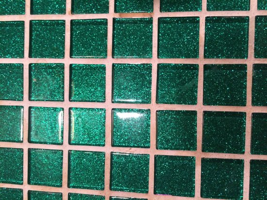 The Roxbury, Contemporary Catskill Lodging: Tiles in the bathroom. The tile work throughout the property is exquisite!