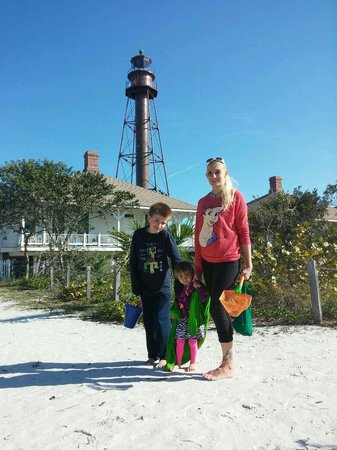 Sanibel Island Lighthouse: The kids and me by the lighthouse