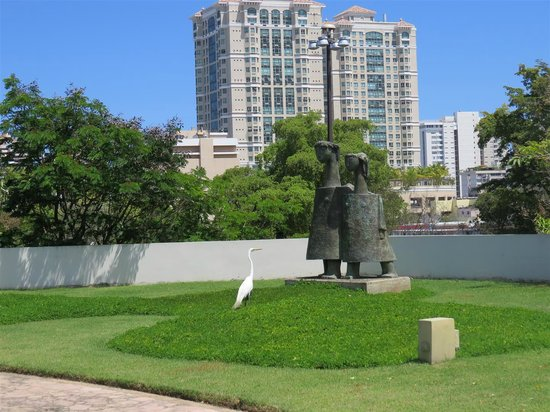 Museo de Arte de Puerto Rico: Stork admiring a statue in the museum garden