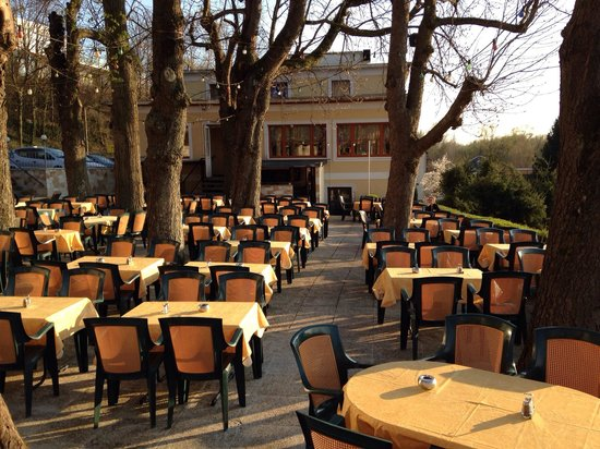 Restaurant Dionysos: Gastgarten direkt neben der Donau
