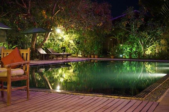 Phka Villa : Pool Area at Night