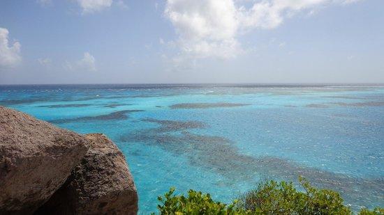 Crab Cay: vista do alto da parte de trás da ilha