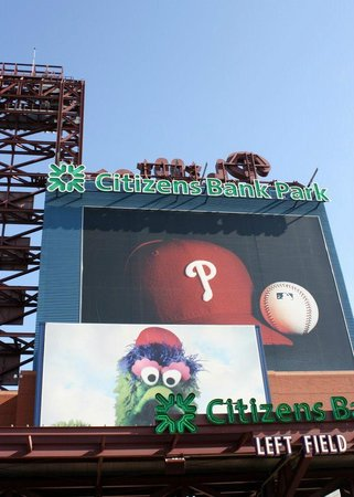 Citizens Bank Park: A Giant Photo of the Phanatic Greets you at the Left Field Gate