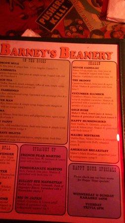 Barney's Beanery: Menu