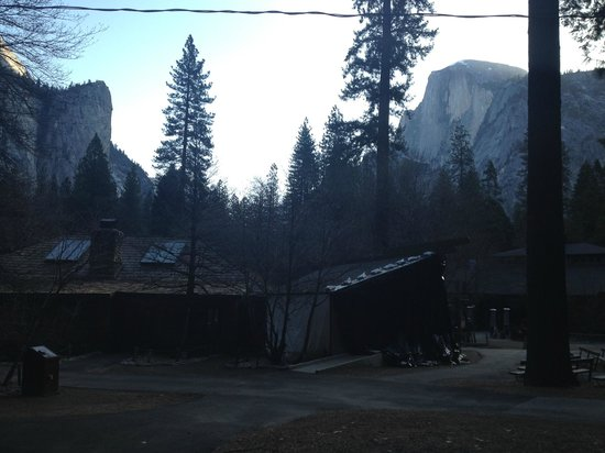 Half Dome Village: Halfdome in the morning with pavillion in background.