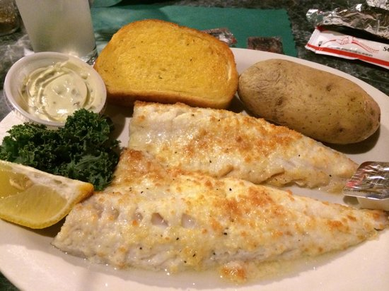 Foggy's Steakhouse: Parmasan Encrusted Walleye Special - delicious and good value.