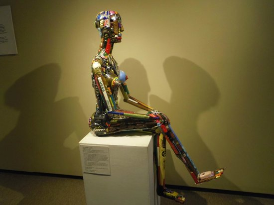 Fuller Craft Museum: Leo Sewell's Woman made of found junk.