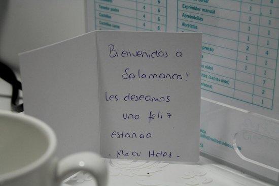 Salamanca Suite Studios: Detalle bienvenida de la directora