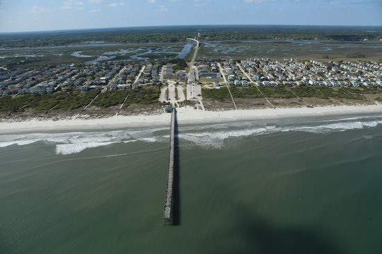 Aerial View Of Sunset Beach Pier Bridge