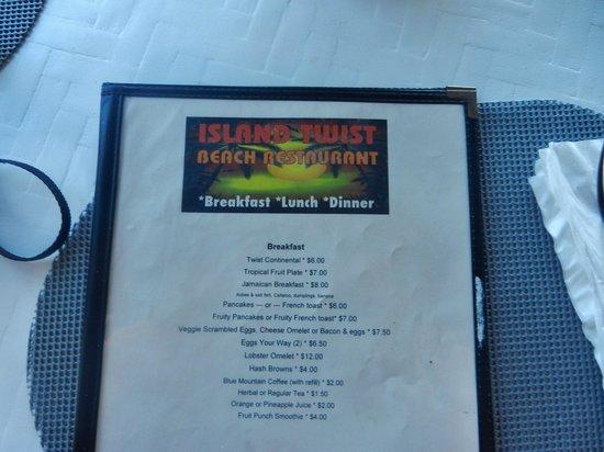 Rondel Village : the menu