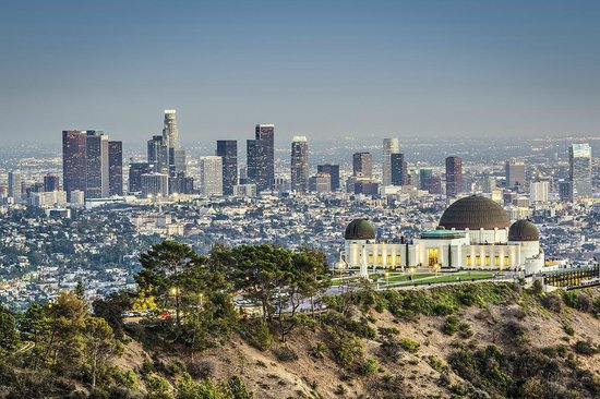 Los Angeles, CA: View of Griffith Observatory and the city
