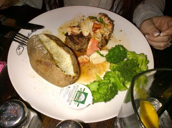 Fishbones in the Village: Filet mignon and lobster