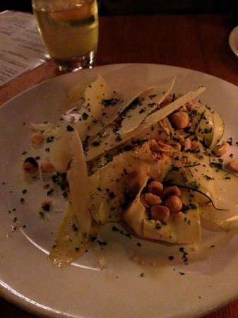 Bar Acuda : Shaved zucchini with parmesan reggiano, truffle oil and toasted hazelnuts