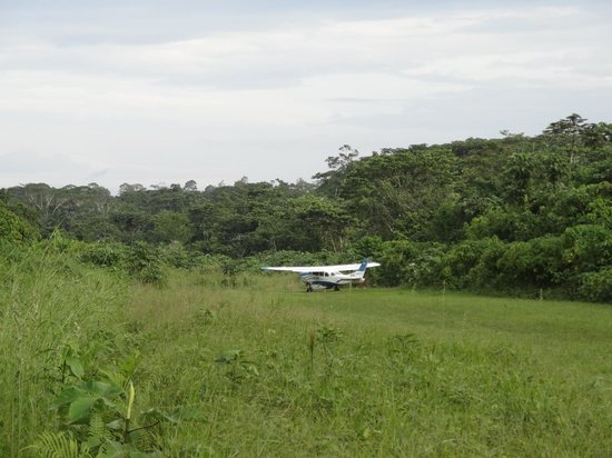 Huaorani Ecolodge: the jungle airfield and the plane